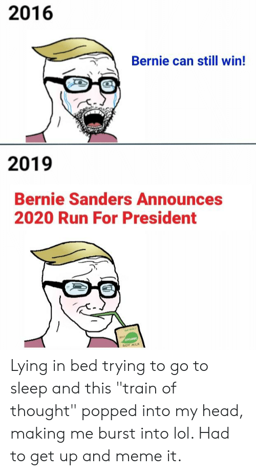 """Bernie Sanders, Go to Sleep, and Head: 2016  Bernie can still win!  2019  Bernie Sanders Announces  2020 Run For President Lying in bed trying to go to sleep and this """"train of thought"""" popped into my head, making me burst into lol. Had to get up and meme it."""