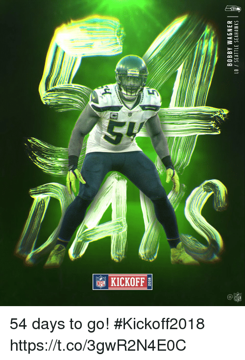 Memes, Seattle Seahawks, and Seahawks: 2018  BOBBY WAGNER  LB / SEATTLE SEAHAWKS  2 54 days to go! #Kickoff2018 https://t.co/3gwR2N4E0C