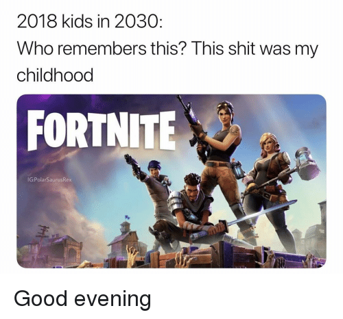 Memes, Shit, and Good: 2018 kids in 2030  Who remembers this? This shit was my  childhood  FORTNITE  G:PolarSaurusRex Good evening
