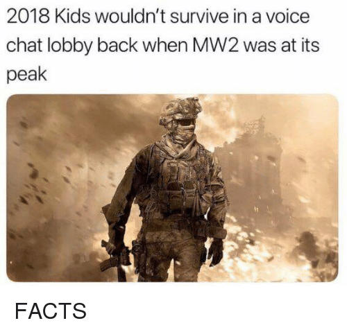 Dank, Facts, and Chat: 2018 Kids wouldn't survive in a voice  chat lobby back when MW2 was at its  peak FACTS