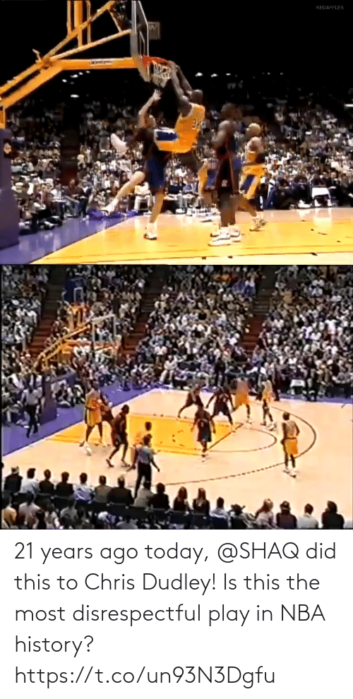 play: 21 years ago today, @SHAQ did this to Chris Dudley!  Is this the most disrespectful play in NBA history? https://t.co/un93N3Dgfu
