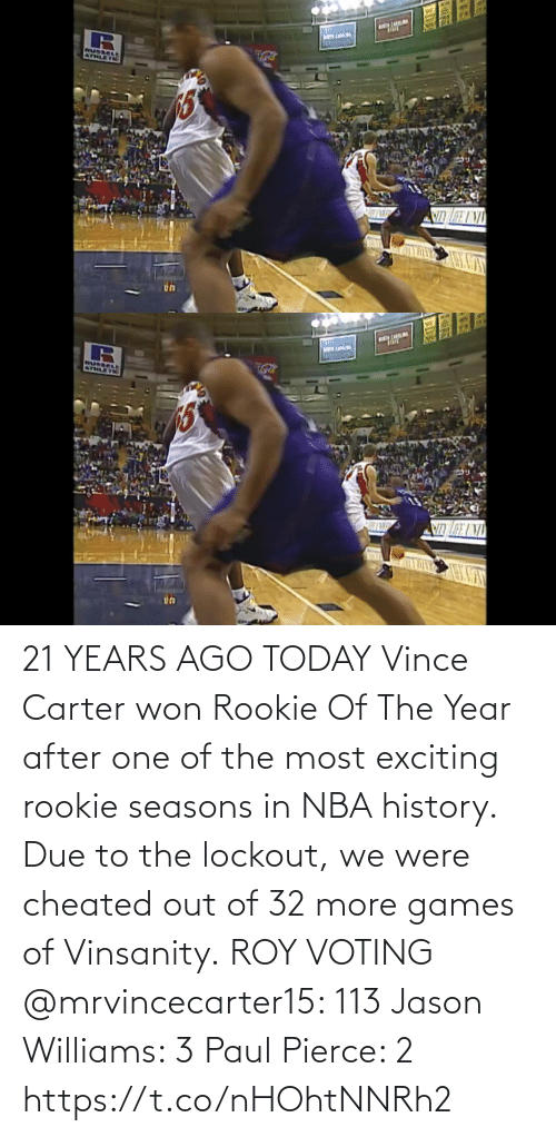 exciting: 21 YEARS AGO TODAY Vince Carter won Rookie Of The Year after one of the most exciting rookie seasons in NBA history.   Due to the lockout, we were cheated out of 32 more games of Vinsanity.  ROY VOTING @mrvincecarter15: 113 Jason Williams: 3 Paul Pierce: 2 https://t.co/nHOhtNNRh2
