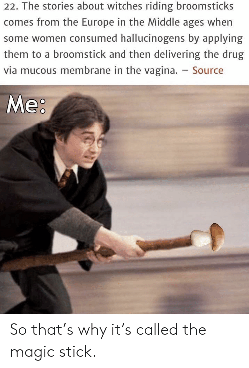 Mucous: 22. The stories about witches riding broomsticks  comes from the Europe in the Middle ages when  some women consumed hallucinogens by applying  them to a broomstick and then delivering the drug  via mucous membrane in the vagina. – Source  Me: So that's why it's called the magic stick.