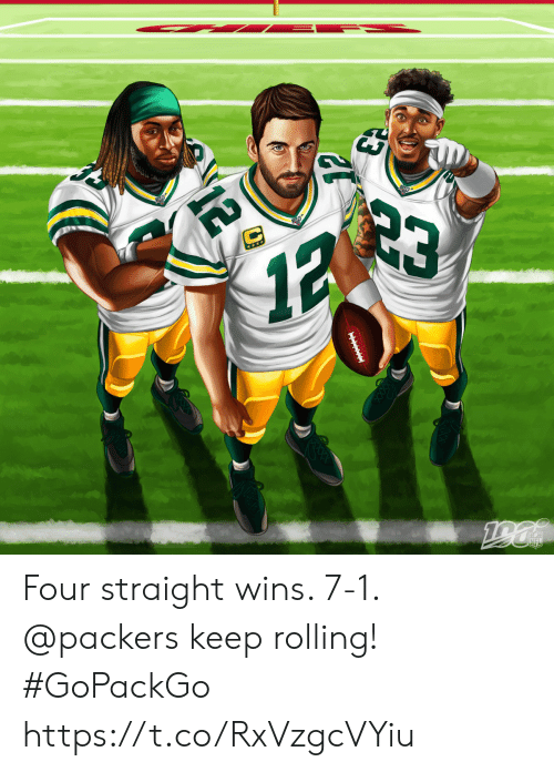 Memes, Nfl, and Packers: 23  12  ***  190  NFL  IITIE  12 Four straight wins. 7-1.  @packers keep rolling! #GoPackGo https://t.co/RxVzgcVYiu