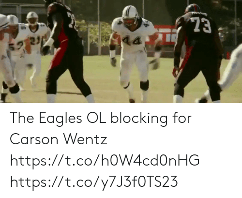 Blocking: 23  21 The  Eagles OL blocking for Carson Wentz https://t.co/h0W4cd0nHG https://t.co/y7J3f0TS23