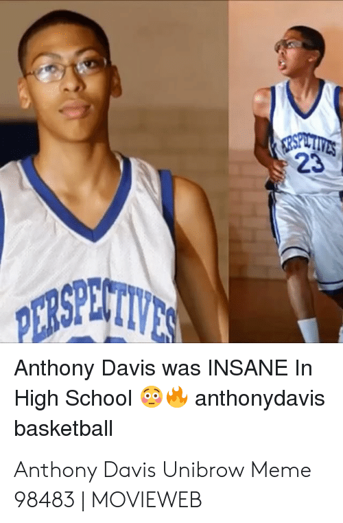Davis Unibrow: 23  Anthony Davis was INSANE In  High Schoolanthonydavis  basketbal Anthony Davis Unibrow Meme 98483 | MOVIEWEB