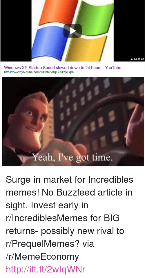 "Prequelmemes: 24:00:00  Windows XP Startup Sound slowed down to 24 hours - YouTube  https://www.youtube.com/watch?v=qL7l9BWFqdk  Yeah, I've got time. <p>Surge in market for Incredibles memes! No Buzzfeed article in sight. Invest early in r/IncrediblesMemes for BIG returns- possibly new rival to r/PrequelMemes? via /r/MemeEconomy <a href=""http://ift.tt/2wIqWNr"">http://ift.tt/2wIqWNr</a></p>"