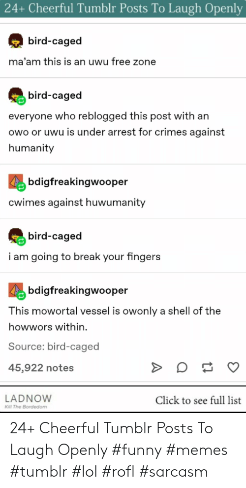 Click, Funny, and Lol: 24+ Cheerful Tumblr Posts To Laugh Openly  bird-caged  ma'am this is an uwu free zone  bird-caged  everyone who reblogged this post with an  owo or uwu is under arrest for crimes against  humanity  bdigfreakinqwooper  cwimes against huwumanity  bird-caged  i am going to break your fingers  bdigfreakingwooper  T his mowortal vessel is owonly a shell of the  howwors within.  Source: bird-caged  45,922 notes  LADNOW  KGl The Bordedom  Click to see full list 24+ Cheerful Tumblr Posts To Laugh Openly #funny #memes #tumblr #lol #rofl #sarcasm
