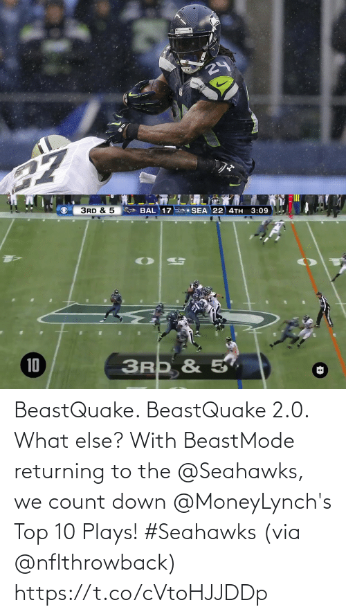 Returning: 24  SLAHAW   3RD & 5  SEA 22 4TH  3:09  BAL 17  3RD & 5,  10 BeastQuake. BeastQuake 2.0. What else?  With BeastMode returning to the @Seahawks, we count down @MoneyLynch's Top 10 Plays! #Seahawks (via @nflthrowback) https://t.co/cVtoHJJDDp
