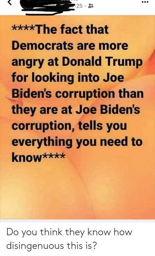 Donald Trump, Trump, and Angry: 25·  ****The fact that  Democrats are more  angry at Donald Trump  for looking into Joe  Biden's corruption than  they are at Joe Biden's  corruption, tells you  everything you need to  know**** Do you think they know how disingenuous this is?