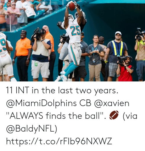 """Memes, 🤖, and Via: 25  AMIAMI 11 INT in the last two years.   @MiamiDolphins CB @xavien """"ALWAYS finds the ball"""". 🏈 (via @BaldyNFL) https://t.co/rFIb96NXWZ"""