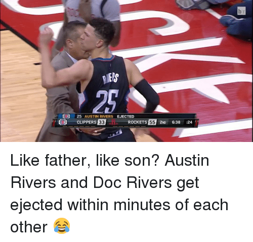 ejection: 25 AUSTIN RIVERS  EJECTED  ROCKETS  55 2ND  6:38  24  CLIPPERS  33 Like father, like son? Austin Rivers and Doc Rivers get ejected within minutes of each other 😂