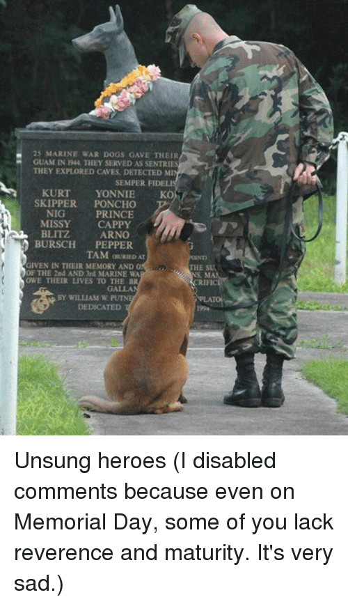 blitz: 25 MARINE WAR DOGS GAVE THEIR  GUAM IN 194, THEY SERVED AS SENTRIES  THEY EXPLORED CAVES, DETECTED MI  SEMPER FIDELIS  KURT  YONNIE  SKOT  SKIPPER  PONCHO  NIG  PRINCE  MISSY CAPPY  BLITZ  ARNO  BURSCH  PEPPER  TAM OURIEDAT  GIVEN IN THEIR MEMORY AND O  THE SU  OF THE 2nd AND 3rd MARINE WA  OWE THEIR LIVES TO THE BR  BY WILLIAM W  DEDICATED Unsung heroes (I disabled comments because even on Memorial Day, some of you lack reverence and maturity. It's very sad.)
