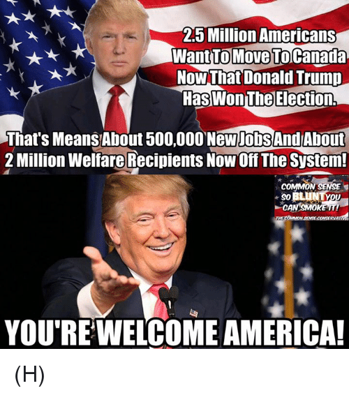 Move To Canada: 25 Million Americans  Want TO Move To Canada  Now That Donald Trump  HasWonThe Election,  That's Means About 500,000 NewpobSAndAbout  2 Million Welfare Recipients NowOff The System!  COMMON SENSE  YOU RE WELCOME AMERICA! (H)