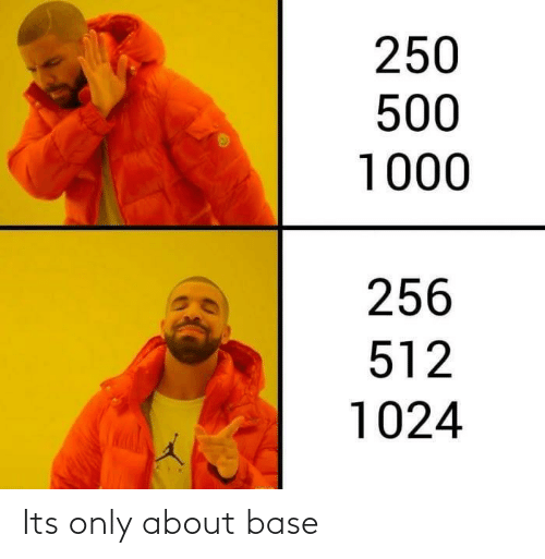 base: 250  500  1000  256  512  1024 Its only about base