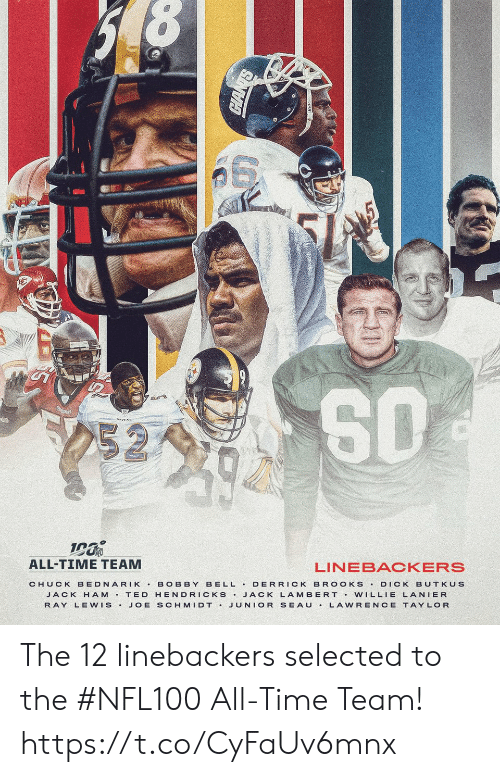 bobby: 252  ALL-TIME TEAM  LINEBACKERS  BELL DERRICK BR OOKS  CHUCK BEDNARIK  BOBBY  DICK BUTKUS  JACK H AM T ED HENDRICKS JACK LAMBERT Vw ILLIE LANIER  JUNIOR SEAU  RAY LEWIS.  JOE SCHMIDT .  LAWRENCE TAYLOR The 12 linebackers selected to the #NFL100 All-Time Team! https://t.co/CyFaUv6mnx