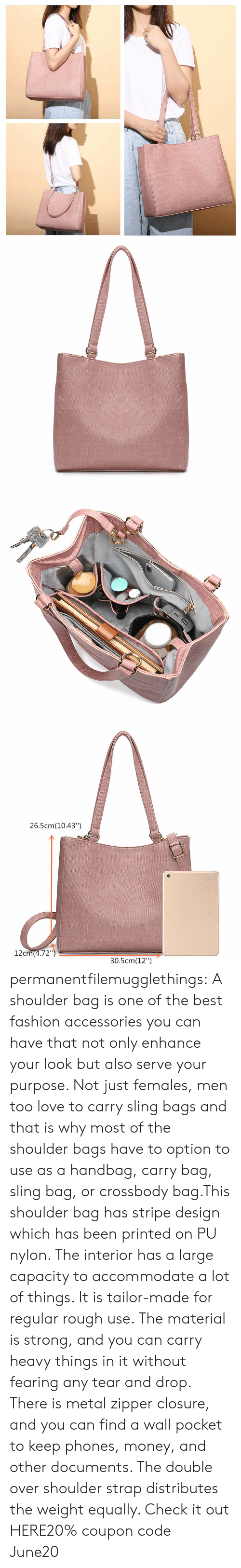 """closure: 26.5cm(10.43"""")  12cm(4.72"""")  30.5cm(12"""") permanentfilemugglethings:  A shoulder bag is one of the best fashion accessories you can have that not only enhance your look but also serve your purpose. Not just females, men too love to carry sling bags and that is why most of the shoulder bags have to option to use as a handbag, carry bag, sling bag, or crossbody bag.This shoulder bag has stripe design which has been printed on PU nylon. The interior has a large capacity to accommodate a lot of things. It is tailor-made for regular rough use. The material is strong, and you can carry heavy things in it without fearing any tear and drop. There is metal zipper closure, and you can find a wall pocket to keep phones, money, and other documents. The double over shoulder strap distributes the weight equally. Check it out HERE20% coupon code: June20"""