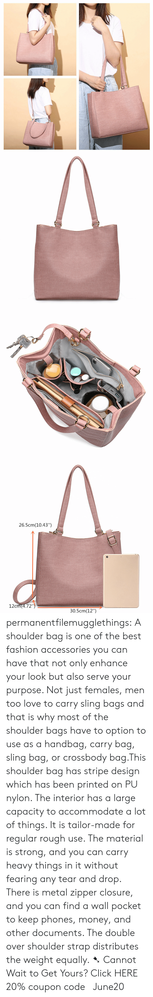 """closure: 26.5cm(10.43"""")  12cm(4.72"""")  30.5cm(12"""") permanentfilemugglethings: A shoulder bag is one of the best fashion accessories you can have that not only enhance your look but also serve your purpose. Not just females, men too love to carry sling bags and that is why most of the shoulder bags have to option to use as a handbag, carry bag, sling bag, or crossbody bag.This shoulder bag has stripe design which has been printed on PU nylon. The interior has a large capacity to accommodate a lot of things. It is tailor-made for regular rough use. The material is strong, and you can carry heavy things in it without fearing any tear and drop. There is metal zipper closure, and you can find a wall pocket to keep phones, money, and other documents. The double over shoulder strap distributes the weight equally. ➷ Cannot Wait to Get Yours? Click HERE 20% coupon code: June20"""