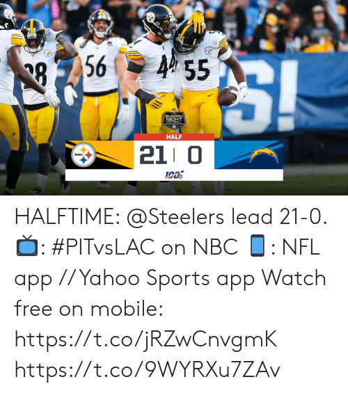 Football, Memes, and Nfl: 28  455  56  88  SUNDAY  NICHT  FOOTBALL  HALF  21 0  Steelers HALFTIME: @Steelers lead 21-0.   📺: #PITvsLAC on NBC 📱: NFL app // Yahoo Sports app Watch free on mobile: https://t.co/jRZwCnvgmK https://t.co/9WYRXu7ZAv