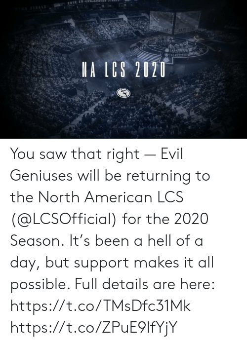 Returning: 2818 E LSRER  FRALS  A LCS 2020 You saw that right — Evil Geniuses will be returning to the North American LCS (@LCSOfficial) for the 2020 Season.  It's been a hell of a day, but support makes it all possible. Full details are here: https://t.co/TMsDfc31Mk https://t.co/ZPuE9lfYjY