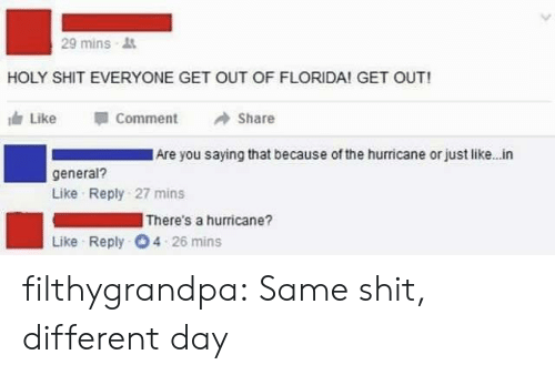 Hurricane: 29 mins  HOLY SHIT EVERYONE GET OUT OF FLORIDA! GET OUT!  Like  Comment  Share  Are you saying that because of the hurricane or just like. in  general?  Like Reply 27 mins  There's a hurricane?  Like Reply 4 26 mins filthygrandpa:  Same shit, different day