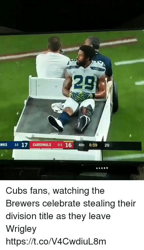 Cubs Fans: 29  WKS 12 17 CARDINALS 03 16 4th 8:59 20 Cubs fans, watching the Brewers celebrate stealing their division title as they leave Wrigley https://t.co/V4CwdiuL8m
