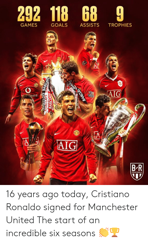 Manchester: 292 118 68 9  GAMES  GOALS  ASSISTS  TROPHIES  AIG  one  A  AIG  BR  FOOTBALL  BARCLAYS BANSCLAYS  BARCLAYS  BA Dr  BARCLAS 16 years ago today, Cristiano Ronaldo signed for Manchester United  The start of an incredible six seasons 👏🏆