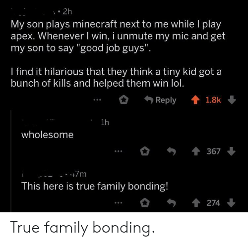 """Family, Lol, and Minecraft: . 2h  My son plays minecraft next to me while l play  apex. Whenever I win, i unmute my mic and get  my son to say """"good job guys""""  I find it hilarious that they think a tiny kid got a  bunch of kills and helped them win lol.  Reply會1.8k  1h  wholesome  367  This here is true family bonding! True family bonding."""