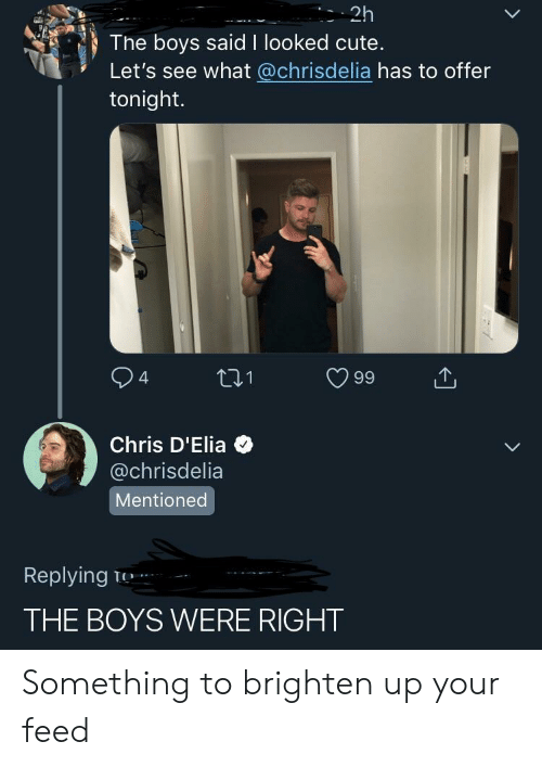 Cute, Boys, and What: 2h  The boys said I looked cute.  Let's see what @chrisdelia has to offer  tonight.  94 ti1 99  Chris D'Elia  @chrisdelia  Mentioned  Replying T  THE BOYS WERE RIGHT Something to brighten up your feed