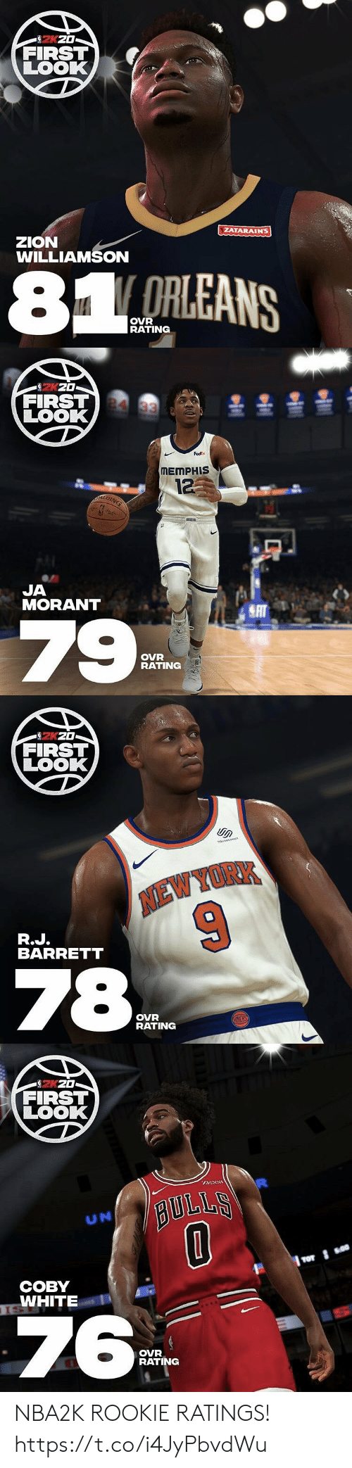 Fedex: 2KZ0  FIRST  LOOK  ZATARAINS  zZION  WILLIAMSON  81 ORLEANS  OVR  RATING   을 훌올을  FIRST 4 33  LOOK  FedEx  MEMPHIS  12  JA  MORANT  SAT  79  OVR  RATING   FIRST  LOOK  soUARESPACE  NEW YORK  R.J.  BARRETT  78  OVR  RATING  HCHKS   FIRST  LOOK  BULLS  UN  СОВY  TSWHITE  ISE  76  OVR  RATING NBA2K ROOKIE RATINGS! https://t.co/i4JyPbvdWu