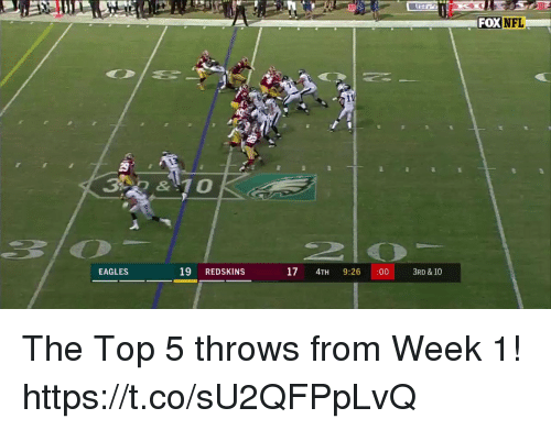 Foxe: 2n  HTA  FOX NFL  29  3 & 10  EAGLES  19 REDSKINS  17 4TH 9:26 :003RD& 10 The Top 5 throws from Week 1! https://t.co/sU2QFPpLvQ
