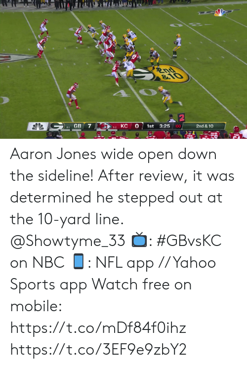 Memes, Nfl, and Sports: 2nd  &10  GB  0  00  3:25  1st  2nd & 10  6-1  5-2  PENEL  FENTR  LEI Aaron Jones wide open down the sideline!  After review, it was determined he stepped out at the 10-yard line. @Showtyme_33  📺: #GBvsKC on NBC 📱: NFL app // Yahoo Sports app Watch free on mobile: https://t.co/mDf84f0ihz https://t.co/3EF9e9zbY2