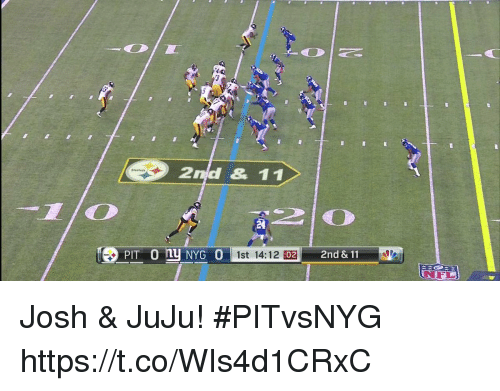 Joshing: 2nd & 11  TD  1st 14:12 02  2nd & 11 Josh & JuJu! #PITvsNYG https://t.co/WIs4d1CRxC