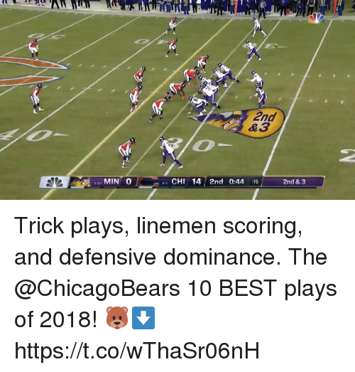 Memes, Best, and 🤖: 2nd  &3  MIN 0  6 CHI 14 2nd 0:44 :15  2nd & 3  5-3-1 Trick plays, linemen scoring, and defensive dominance.   The @ChicagoBears 10 BEST plays of 2018! 🐻⬇️ https://t.co/wThaSr06nH