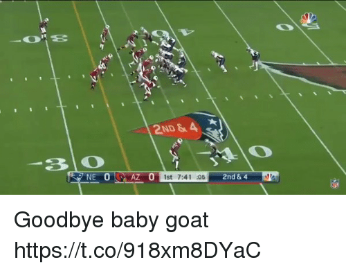 Memes, Goat, and Baby: 2ND & A  Z 0 1st 7:41 :05  2nd &4 Goodbye baby goat https://t.co/918xm8DYaC