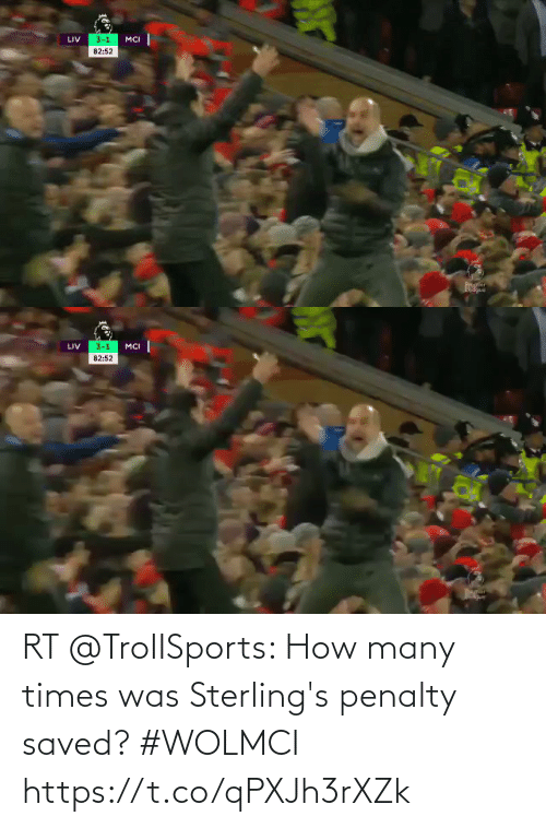 mci: 3-1  LIV  MCI  82:52  Proner  anio   3-1  LIV  MCI  82:52 RT @TroIISports: How many times was Sterling's penalty saved? #WOLMCI  https://t.co/qPXJh3rXZk