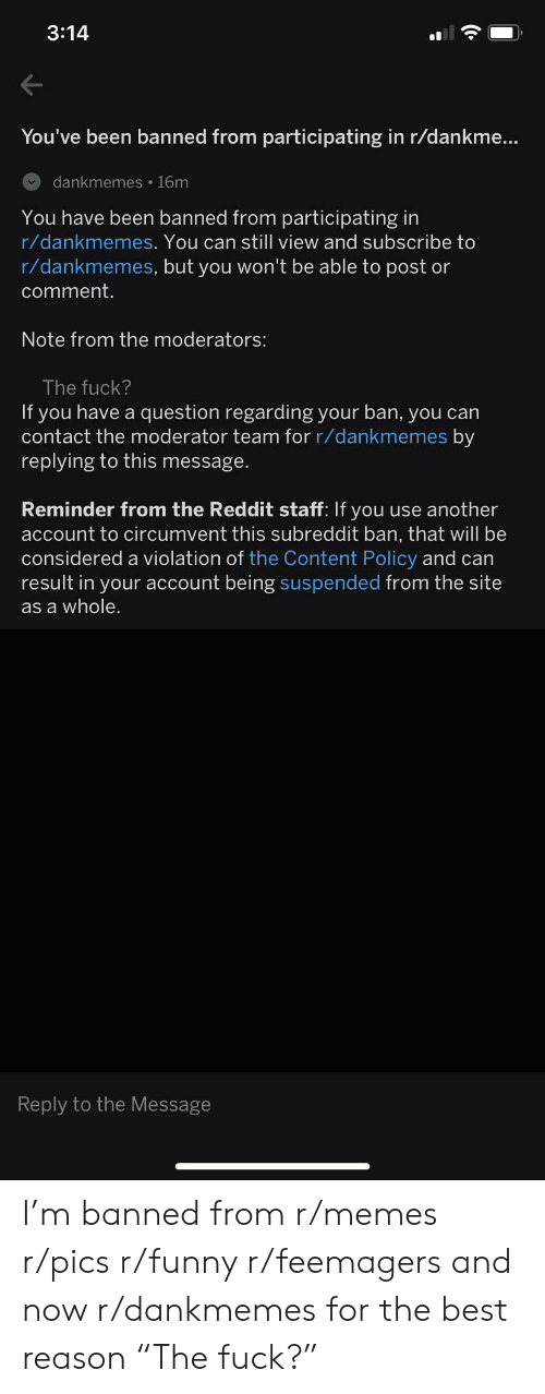 """Funny, Memes, and Reddit: 3:14  You've been banned from participating in r/dankme...  dankmemes 16m  You have been banned from participating in  r/dankmemes. You can still view and subscribe to  r/dankmemes, but you won't be able to post or  comment.  Note from the moderators:  The fuck?  If you have a question regarding your ban, you can  contact the moderator team for r/dankmemes by  replying to this message.  Reminder from the Reddit staff: If you use another  account to circumvent this subreddit ban, that will be  considered a violation of the Content Policy and can  result in your account being suspended from the site  as a whole.  Reply to the Message I'm banned from r/memes r/pics r/funny r/feemagers and now r/dankmemes for the best reason """"The fuck?"""""""