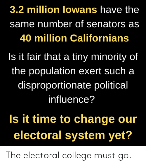 senators: 3.2 million lowans have the  same number of senators as  40 million Californians  Is it fair that a tiny minority of  the population exert such a  disproportionate political  influence?  Is it time to change our  electoral system yet? The electoral college must go.