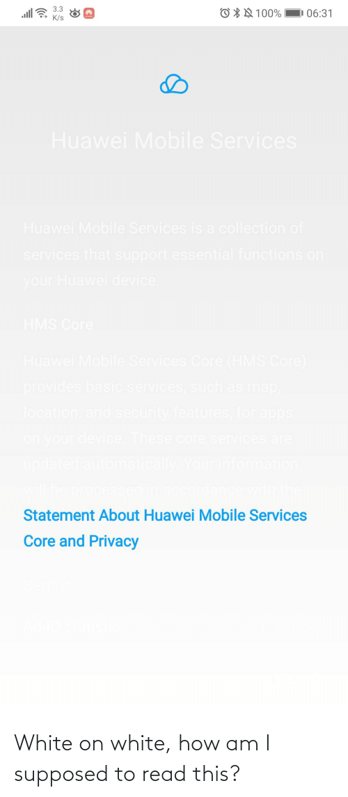 accordance: 3.3  O * N 100%  06:31  K/s  Huawei Mobile Services  Huawei Mobile Services is a collection of  services that support essential functions on  your Huawei device.  HMS Core  Huawei Mobile Services Core (HMS Core)  provides basic services, such as map  location, and security features, for apps  on your device. These core services are  updated automatically Your information  will be processed in accordance with the  Statement About Huawei Mobile Services  Core and Privacy White on white, how am I supposed to read this?
