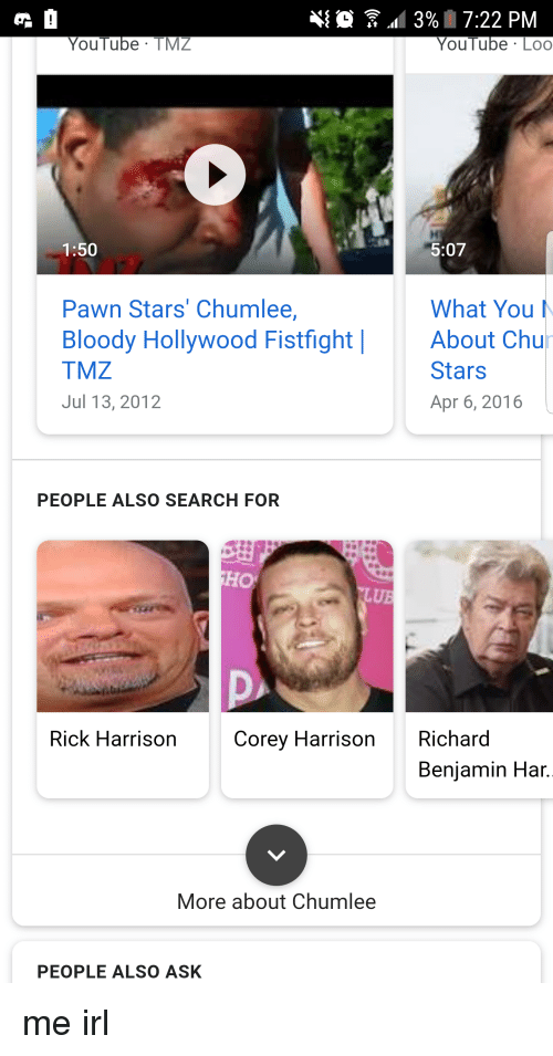 richard benjamin: 3% | 7:22 PM  YouTube Lo  YouTube TMZ  1:50  5:07  What You  Pawn Stars' Chumlee,  Bloody Hollywood FistfightAbout Chu  TMZ  Jul 13, 2012  Stars  Apr 6, 2016  PEOPLE ALSO SEARCH FOR  HO  LUB  Rick Harrison  Corey Harrison Richard  Benjamin Har.  More about Chumlee  PEOPLE ALSO ASK