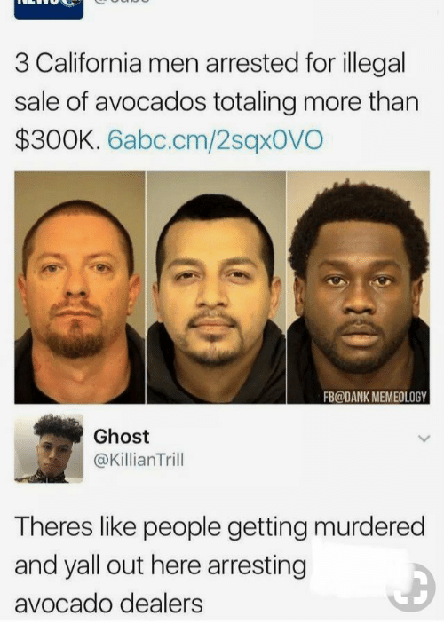 Theres Like: 3 California men arrested for illegal  sale of avocados totaling more than  $300K. 6abc.cm/2sqxovO  FB@DANK MEMEOLOGY  Ghost  @KillianTrill  Theres like people getting murdered  and yall out here arresting  avocado dealers