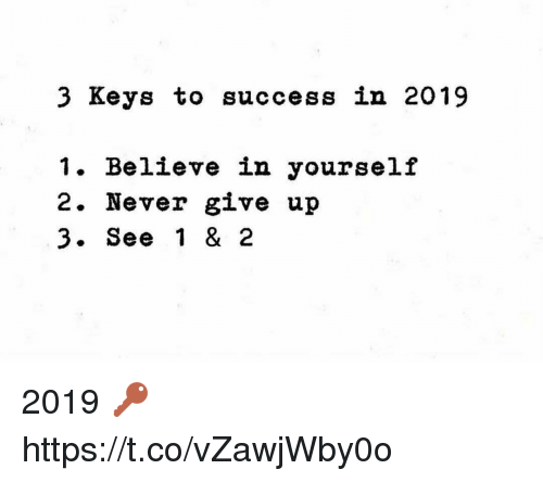Never, Success, and Believe: 3 Keys to success in 2019  1. Believe in yourself  2. Never give up  3. See 1 & 2 2019 🔑 https://t.co/vZawjWby0o
