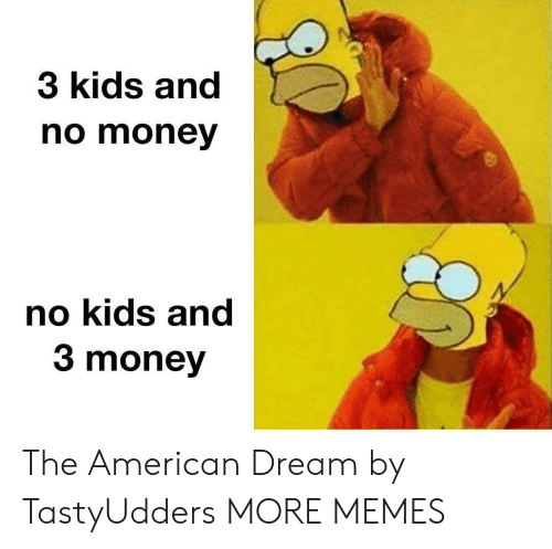 No Kids: 3 kids and  no money  no kids and  3 money The American Dream by TastyUdders MORE MEMES
