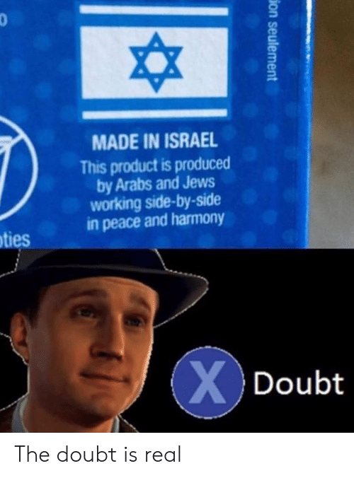 Israel, Doubt, and Peace: 3  MADE IN ISRAEL  This product is produced  by Arabs and Jews  working side-by-side  in peace and harmony  ties  Doubt The doubt is real