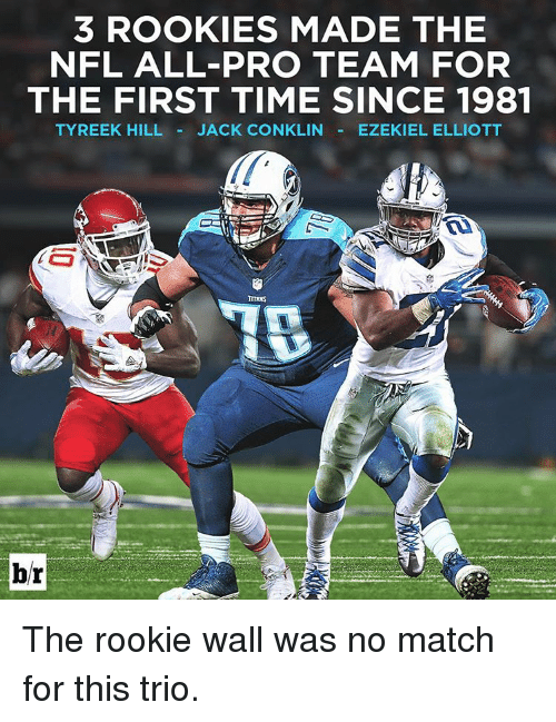 Tyreek Hill: 3 ROOKIES MADE THE  NFL ALL-PRO TEAM FOR  THE FIRST TIME SINCE 1981  TYREEK HILL JACK CONKLIN  EZEKIEL ELLIOTT  br The rookie wall was no match for this trio.