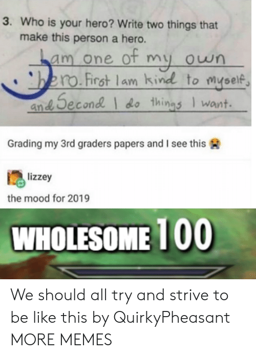 strive: 3. Who is your hero? Write two things that  make this person a hero.  am one ot my own  bero.First lam kind to myself  an Second do things Iwant  Grading my 3rd graders papers and I see this  lizzey  the mood for 2019  WHOLESOME 100 We should all try and strive to be like this by QuirkyPheasant MORE MEMES