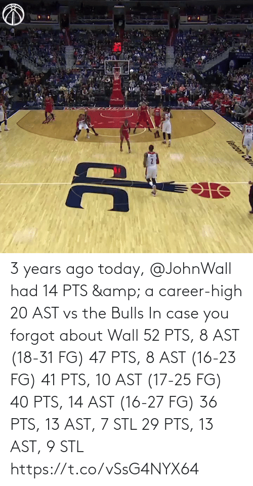 In Case: 3 years ago today, @JohnWall had 14 PTS & a career-high 20 AST vs the Bulls  In case you forgot about Wall 52 PTS, 8 AST (18-31 FG) 47 PTS, 8 AST (16-23 FG) 41 PTS, 10 AST (17-25 FG) 40 PTS, 14 AST (16-27 FG)  36 PTS, 13 AST, 7 STL 29 PTS, 13 AST, 9 STL   https://t.co/vSsG4NYX64