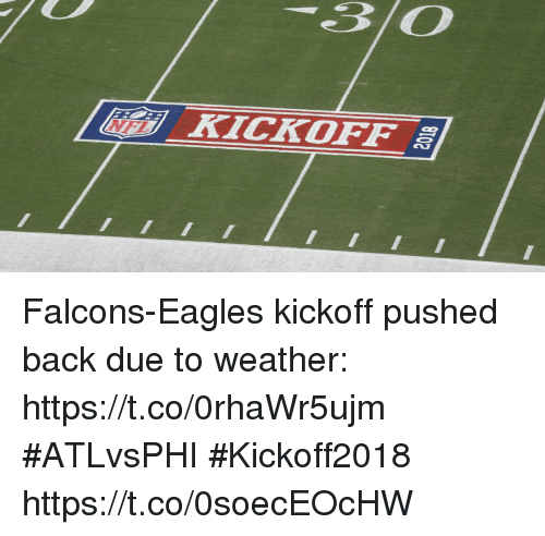 kickoff: 30  [ lidi) KİCKOFF al  |E- Falcons-Eagles kickoff pushed back due to weather: https://t.co/0rhaWr5ujm #ATLvsPHI #Kickoff2018 https://t.co/0soecEOcHW