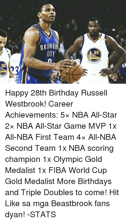 Nba Scores: 30  RR  PITY  35  YRIOR Happy 28th Birthday Russell Westbrook!  Career Achievements: 5× NBA All-Star 2× NBA All-Star Game MVP 1x All-NBA First Team 4× All-NBA Second Team 1x NBA scoring champion 1x Olympic Gold Medalist 1x FIBA World Cup Gold Medalist  More Birthdays and Triple Doubles to come!  Hit Like sa mga Beastbrook fans dyan!  -STATS