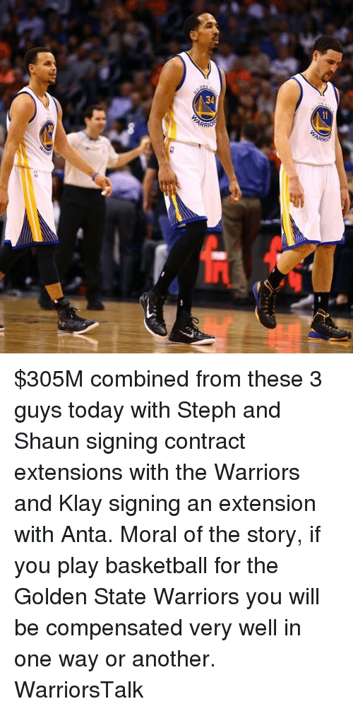 the golden state warriors: $305M combined from these 3 guys today with Steph and Shaun signing contract extensions with the Warriors and Klay signing an extension with Anta. Moral of the story, if you play basketball for the Golden State Warriors you will be compensated very well in one way or another. WarriorsTalk